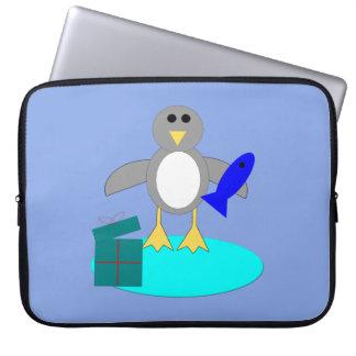 Frohe Weihnacht-Fischen-Pinguin-Laptop-Tasche Laptopschutzhülle
