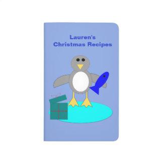 Frohe Weihnacht-Fischen-Pinguin-Rezept-Zeitschrift Taschennotizbuch