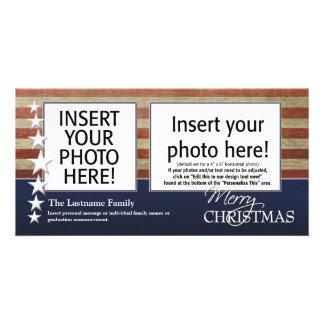 Frohe Weihnacht-Foto-Karten - patriotisches Karte