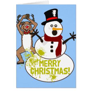 Frohe Weihnacht-Gelb-Schnee Karte