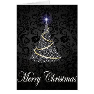 Frohe Weihnacht-glühender Baum Grußkarte