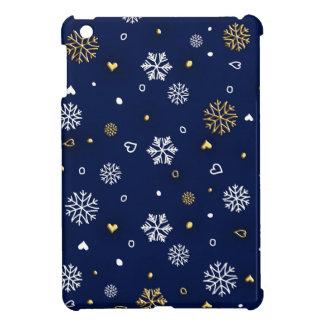 Frohe Weihnacht-Gold u. weiße Schneeflocken iPad Mini Hülle
