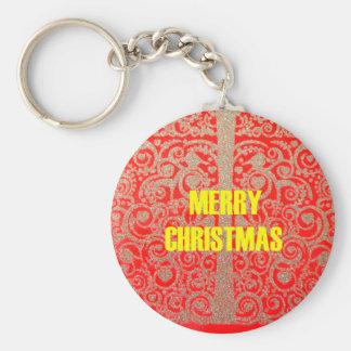 Frohe Weihnacht-goldene rote Schnee-Herzen Schlüsselanhänger