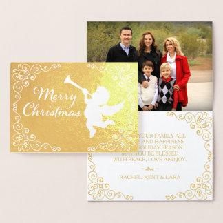Frohe Weihnacht-goldenes personalisiertes Folienkarte