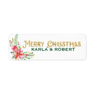 Frohe Weihnacht-Goldtypographie und -Blumenstrauß