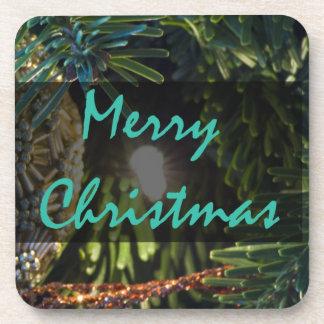 Frohe Weihnacht-Goldverzierung Getränkeuntersetzer