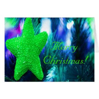Frohe Weihnacht-Grün-Stern Grußkarte