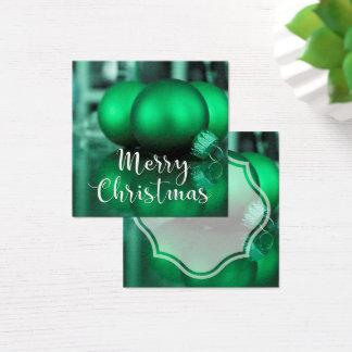 Frohe Weihnacht-grüner Verzierungs-Geschenk-Umbau Quadratische Visitenkarte