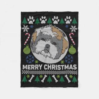 Frohe Weihnacht-hässliche Strickjacke Shih Tzu Fleecedecke