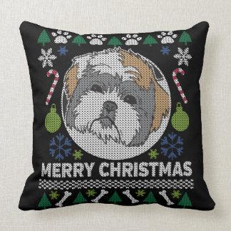 Frohe Weihnacht-hässliche Strickjacke Shih Tzu Kissen