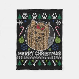 Frohe Weihnacht-hässliche Strickjacke Yorkshires Fleecedecke
