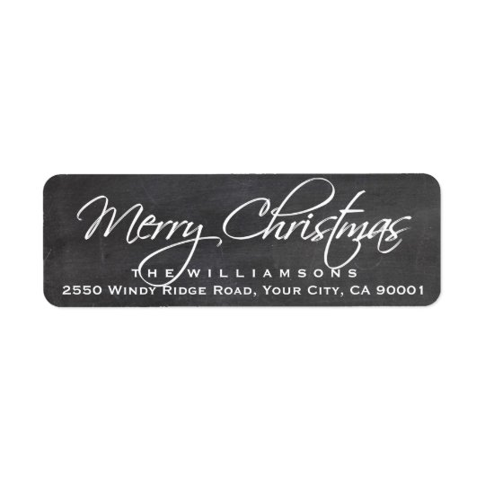 Frohe Weihnacht-Kalligraphie-Skript-Tafel Rückversand-Adressaufkleber