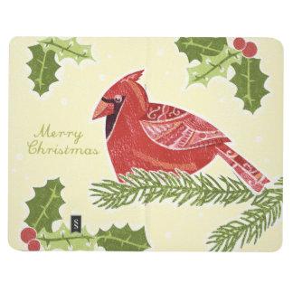 Frohe Weihnacht-Kardinals-Vogel auf Niederlassung Taschennotizbuch