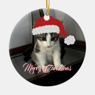 Frohe Weihnacht-Kätzchen-Verzierung Keramik Ornament