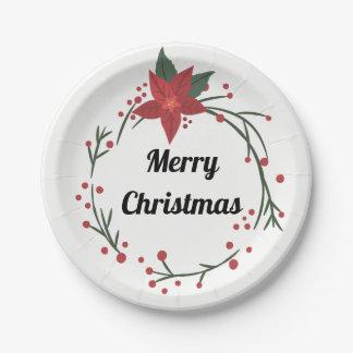 Frohe Weihnacht-Kranz und Stechpalmen-Platte Pappteller