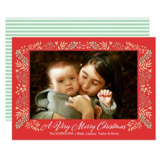 Frohe Weihnacht-Laub-Rahmen-Feiertags-Foto Karte