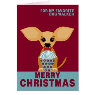 Frohe Weihnacht-Lieblingshundewanderer-Chihuahua Karte