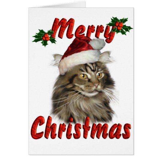 Frohe Weihnacht-Maine-Waschbär-Katze Grußkarte