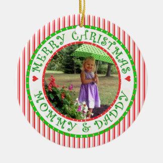 Frohe Weihnacht-Mama und Vati-Foto-Zuckerstange Rundes Keramik Ornament
