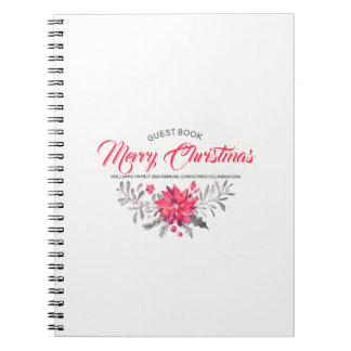 Frohe Weihnacht-moderner Typografie-Blumenstrauß Notizblock