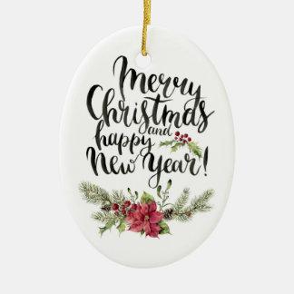 Frohe Weihnacht-neues Jahr-Aquarell Pointsettia Ovales Keramik Ornament