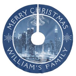 Frohe Weihnacht-New- York Citywinter-Landschaft Polyester Weihnachtsbaumdecke