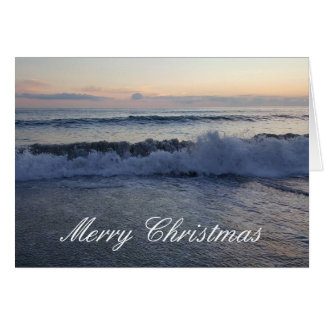 Frohe Weihnacht-Ozean-Sonnenuntergang-Karte Karte
