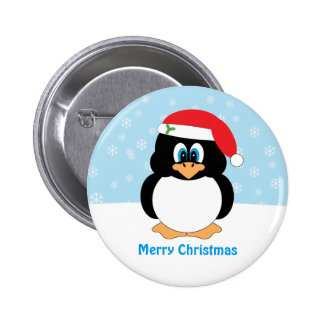 Frohe Weihnacht-Pinguin-Knopf Runder Button 5,1 Cm