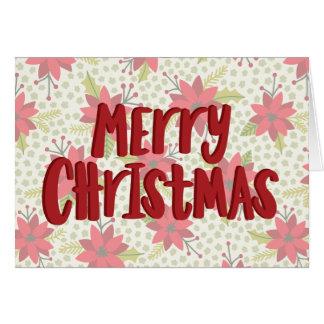 Frohe Weihnacht-Poinsettia-Feiertags-Karte Grußkarte
