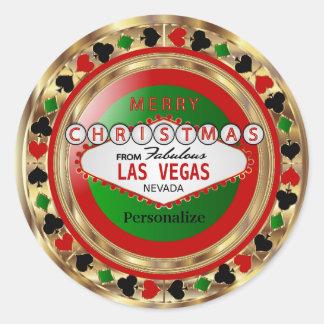 Frohe Weihnacht-Poker-Chip von Las Vegas Runder Aufkleber