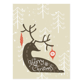 Frohe Weihnacht-Ren gemütlich Postkarte