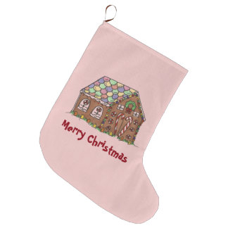 Frohe Weihnacht-Rosa-Lebkuchen-Haus-Feiertag Großer Weihnachtsstrumpf