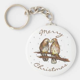 Frohe Weihnacht-Rot angebundener Schlüsselanhänger