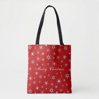 Frohe Weihnacht-Rot-Schneeflocken Tasche