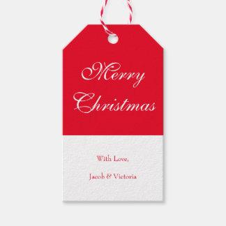 Frohe Weihnacht-rote weiße Feriengeschenk-Umbauten Geschenkanhänger