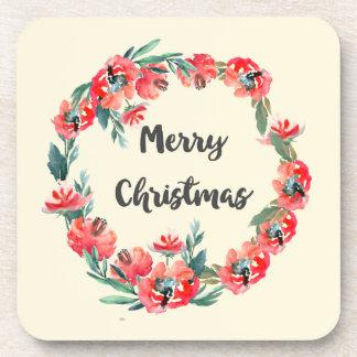 Frohe Weihnacht-roter BlumenAquarell-Kranz Getränkeuntersetzer