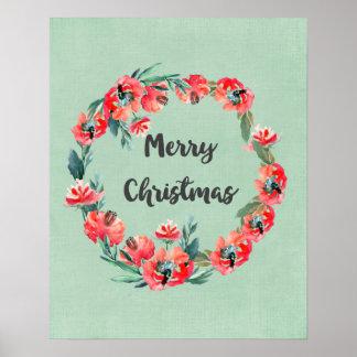 Frohe Weihnacht-roter BlumenAquarell-Kranz Poster
