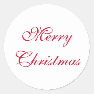 Frohe Weihnacht-roter und weißer runder Aufkleber