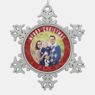 Frohe Weihnacht-rotes Schneeflocke-Foto Schneeflocken Zinn-Ornament