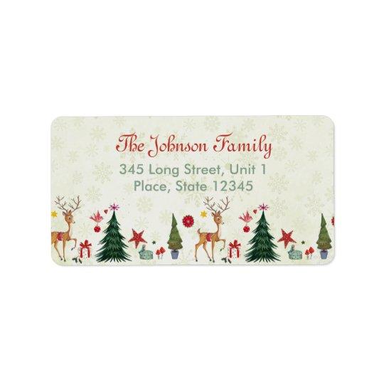 Frohe Weihnacht-Rotwild u. Adressen-Etiketten der Adressaufkleber