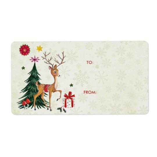 Frohe Weihnacht-Rotwild-u. Geschenk-Aufkleber der Großer Adressaufkleber