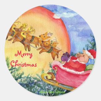 Frohe Weihnacht-Sankt-Schwein liefert Siegel oder Runder Aufkleber