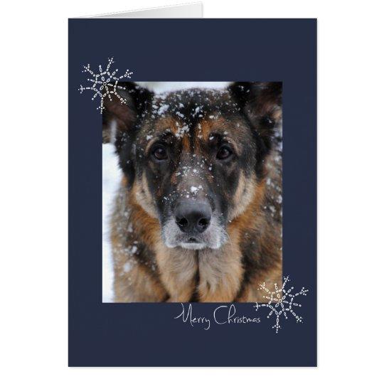 Frohe Weihnacht-Schäferhund in der Schnee-Karte Grußkarte