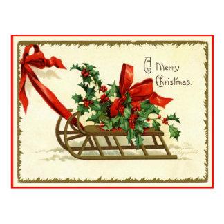 Frohe Weihnacht-Schlitten-Vintage Postkarte