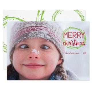 Frohe Weihnacht-Schnee-Blasen-Feiertags-Foto-Karte Karte