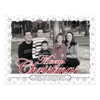 Frohe Weihnacht-Schneeflocke-kundenspezifische Postkarte
