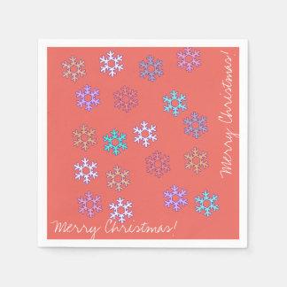 Frohe Weihnacht-Schneeflocke-Papierserviette Servietten