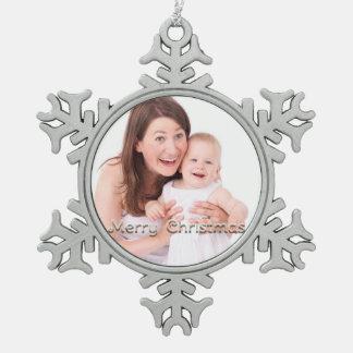 Frohe Weihnacht-Schneeflocke-personalisiertes Foto Schneeflocken Zinn-Ornament