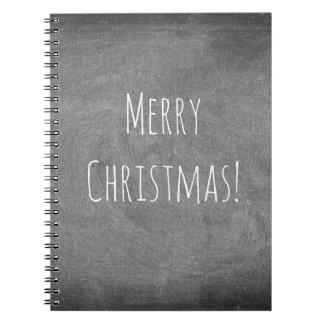 Frohe Weihnacht-Schwarz-weiße Typografie-Tafel Spiral Notizblock