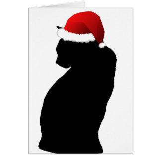 Frohe Weihnacht-schwarze Katzen-Sankt-Karten Karte